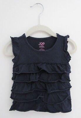 Ruffle T Shirt Euc Non-Ironing 12 Months Enthusiastic Joe Fresh Navy Blue