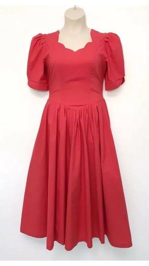 Vintage Laura Ashley Dress Exc Cond 8 10 12 Coral orange Pink Wedding Prom Party