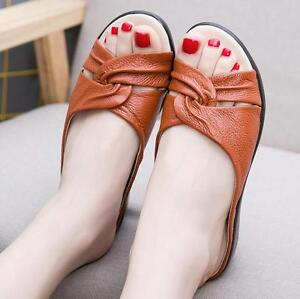 Women-Summer-Wedge-Heel-Peep-Toe-Slippers-Mules-Slip-on-Flat-Roma-Beach-Sandals