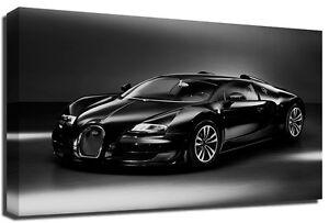 bugatti veyron sports car black white premium framed canvas art