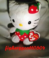 Hello Kitty One Strawberry Ty Beanie Baby - MWMT - UK Exclusive - FREE SHIPPING