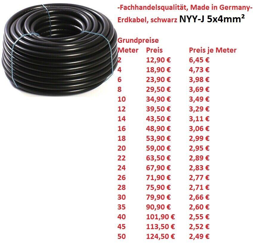 NYY-J 5x4 mm² Erdkabel Starkstromkabel (ab 2 meter abgemessen)  | Bunt,
