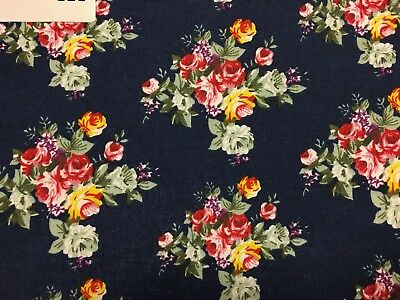 coupon de tissu  PUR coton  dessin rose  fleurs fond marine  3.00 m ; Ref M