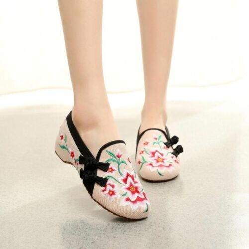 Women Folk Chinese Embroidered Flower Flats Ankle Strap Ballet Soft Shoes Summer