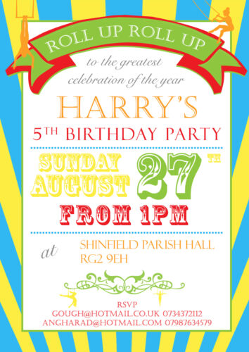 10 Personalised Birthday Party Invitations Roll Up Step Up Circus Poster Vintage