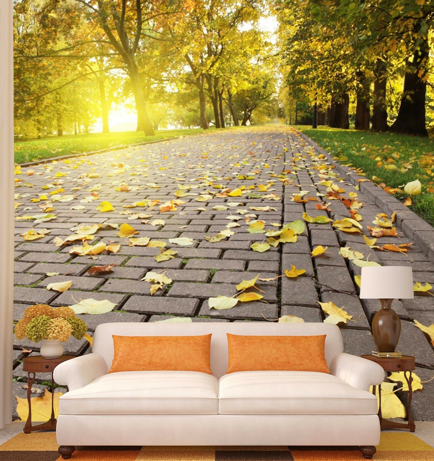 3D Leaves Road 5 Wallpaper Murals Wall Print Wallpaper Mural AJ WALL AU Kyra