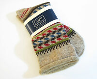 Cabot Vermont Ladies Crew Boot Socks Fair Isle Patterned Roll Top Oatmeal -