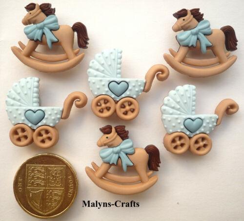BLUE ROCKING HORSE /& BUGGY Craft Buttons 1ST CLASS POST Boy Baby Nursery Novelty