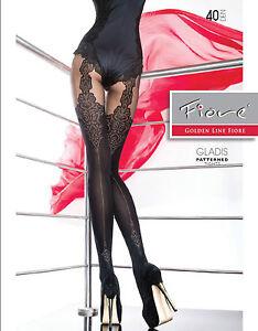 Fiore-034-GLADIS-034-Patterned-Tights-40-Denier-Mock-Suspender-Tights