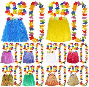 PINK SHORT HULA SKIRT 40CM WITH FLOWER DETAIL AND LEI SET HAWAIIAN FANCY DRESS