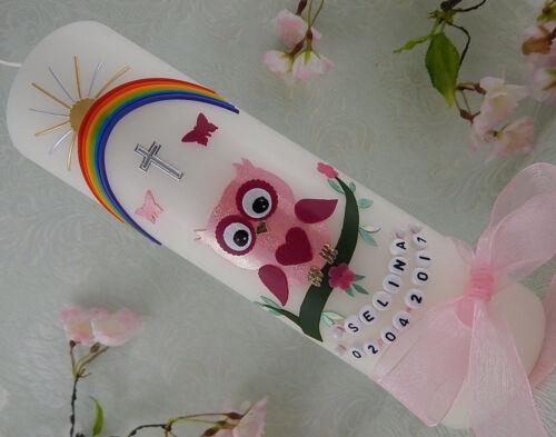 Taufkerze Eule rosa Regenbogen für Mädchen mit Name und Datum 250//70 mm