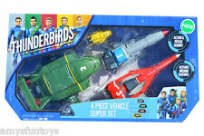 New Thunderbirds Are Go 90294 4 Piece vehicle Set + 1 random Action Figures Free