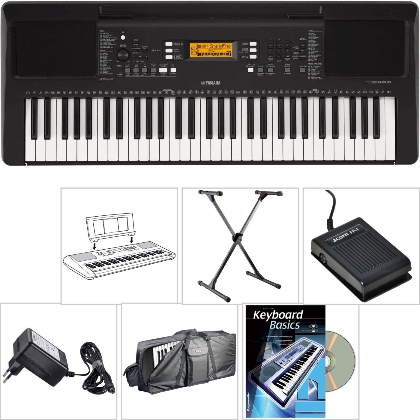 Yamaha PSR E363 Keyboard mit Tasche + X-Stativ + Lern Buch CD + Sustain Pedal