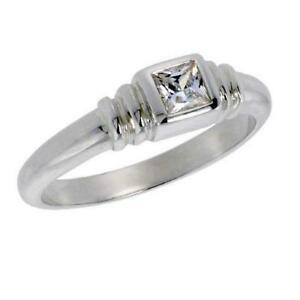 Sterling-Silver-Solitaire-Ring-w-Bezel-Set-3-8mm-0-35ct-Princess-Cut-CZ-Stone
