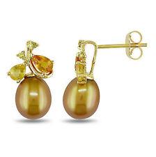 10k Yellow Gold Golden 8-8.5 mm Freshwater Pearl Sapphire Diamond Earring