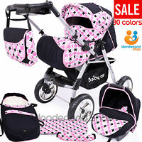 Baby Pram+ 3in1 + Car Seat + Pushchair + Stroller + Buggy Travel System 90cols.