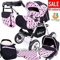 Baby Pram+ 3in1 + Car Seat + Pushchair + Stroller + Buggy Travel System 90cols.