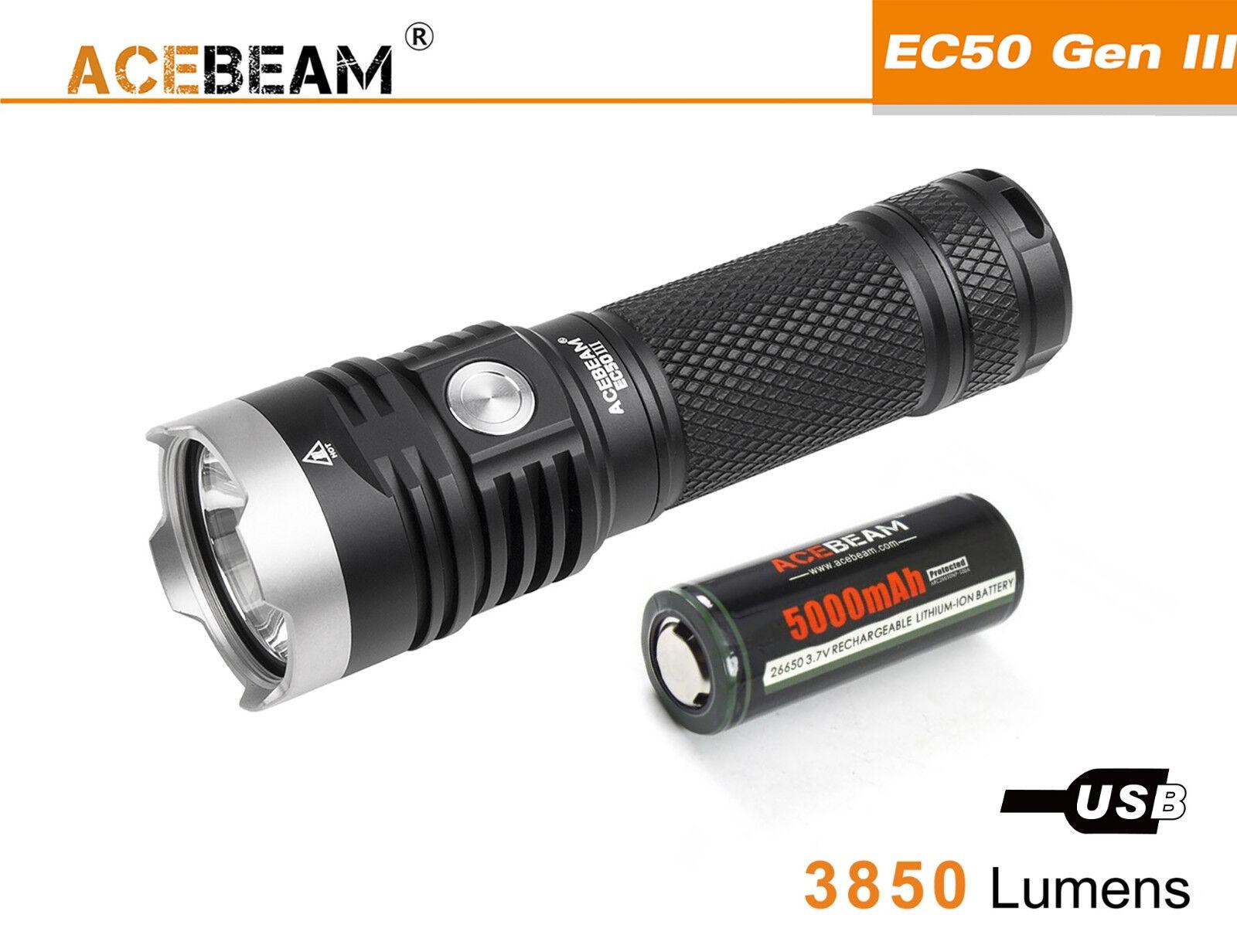 New AceBeam EC50 Gen III Cree XHP70.2 3850 Lumens 6000K LED Flashlight ( 26650 )