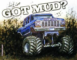 Mud Truck T Shirt 4x4 Offroad Lifted FORD Bogger White Tee Monster