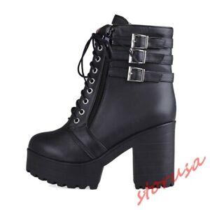Women-Chunky-Heel-Buckle-Strap-Combat-Platform-Ankle-Boots-Shoes-Punk-Biker-Boot