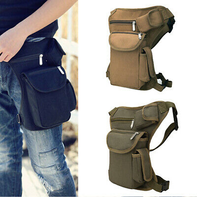 Tactical Men/'s Canvas Drop Leg Thigh Bag Waist Fanny Pack Belt Pouch Outdoor CF