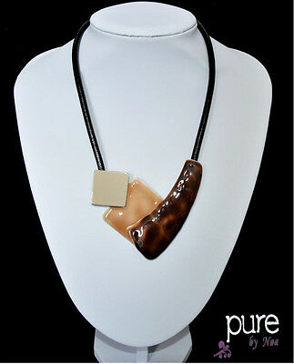 Luxus Lederkette Halskette Noa Paris Kette Leder Emaille Glas Collier Anhänger