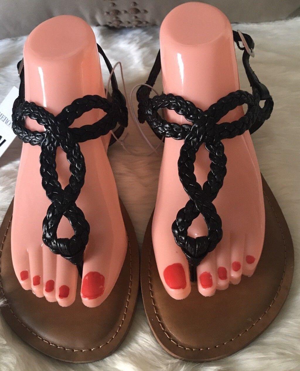 Merona Women Black  Braided T Strap Buckle Padded 8 Insole Flat Sandals Sz 8 Padded NWT f0b525