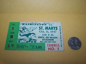 1947 WASHINGTON vs ST. MARY'S COLLEGE FOOTBALL TICKET STUB HUSKIES GAELS