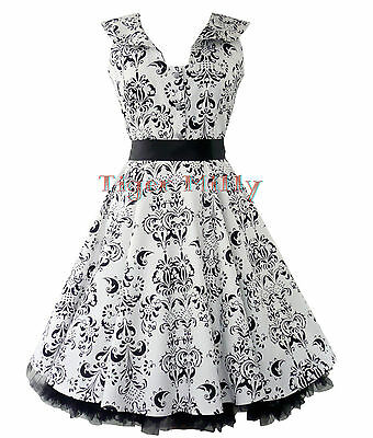 H&R LONDON 50's RETRO VINTAGE FLEUR FLORAL Rockabilly DRESS WHITE & BLACK