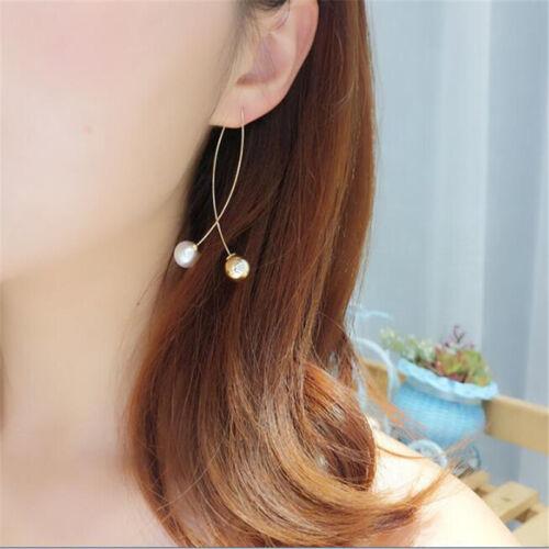 Women/'s Elegant Silver Plated Pearl Drop Long Chain Tassel Earrings Gift TO