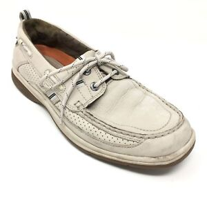 Men-039-s-Clarks-Unstructured-Boat-Shoes-Sneakers-Size-10M-Ivory-Leather-Casual-X2