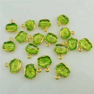 18548 5pcs Nature Enamel Light Green Lotus Leaf Golden Cloisonne Pendant