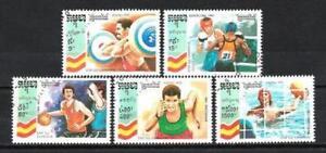 JO-verano-Camboya-6-serie-completo-de-5-sellos-matasellados