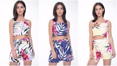2pc Boho Women Floral Co Ord Set Off Shoulder Playsuit Top Shorts Beach Jumpsuit Chinesische Aromen Besitzen
