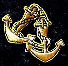 Gold Anchor Navy Sailor Embroidered Iron Sew On Rockabilly Patch Badge Sea