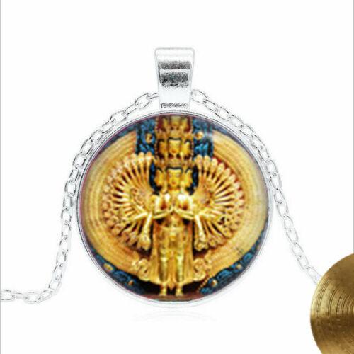 Avalokiteshvara statue Tibet silver Glass dome Necklace chain Pendant Wholesale