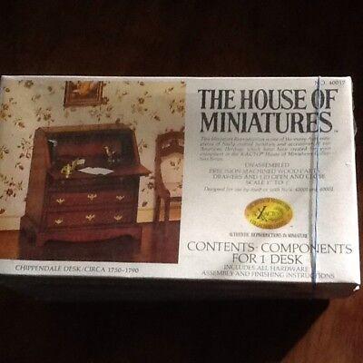 1//12 CHIPPENDALE SLANT FRONT DESK KIT #40042 HOUSE OF MINIATURES OPEN COMPLETE