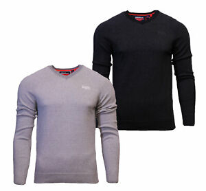 Superdry-Mens-New-Orange-Label-V-Neck-Cotton-Jumper-Long-Sleeve-Black-Grey
