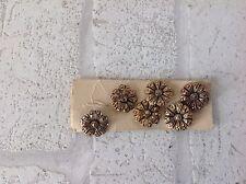 Vintage 1960 Gold Colour Metal Flower Shape Buttons x 5 Haberdashery DIY
