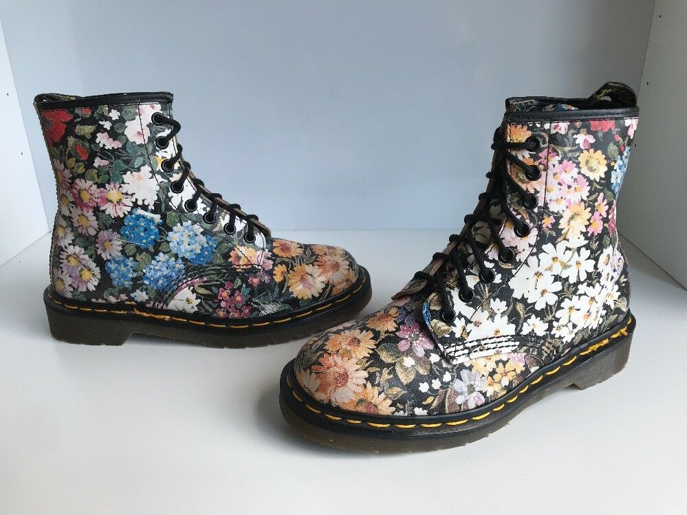 Rare  Dr. Martens 1460 Meadow Floral Print Made Leder Stiefel Sz UK5 Made Print in England 7fb0ad