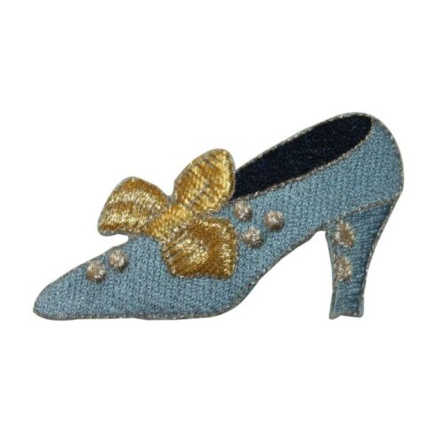 ID 7429 Blue Heel Woman Shoe Patch Bow Fashion Pump Embroidered Iron On Applique