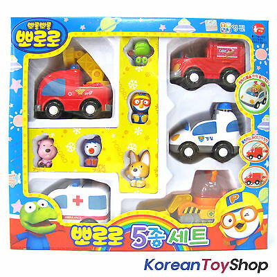 Pororo 5 Cars & Characters Set -Police Car Fire truck Ambulance Construction Car