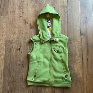BURTON-DryRide-Fleece-Full-Zip-Hooded-Girls-Starr-Vest-Green-Size-Small-S