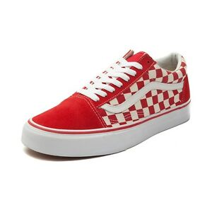 3d26a206283 NEW Vans Old Skool Chex Skate Shoe RED White Checkerboard Mens