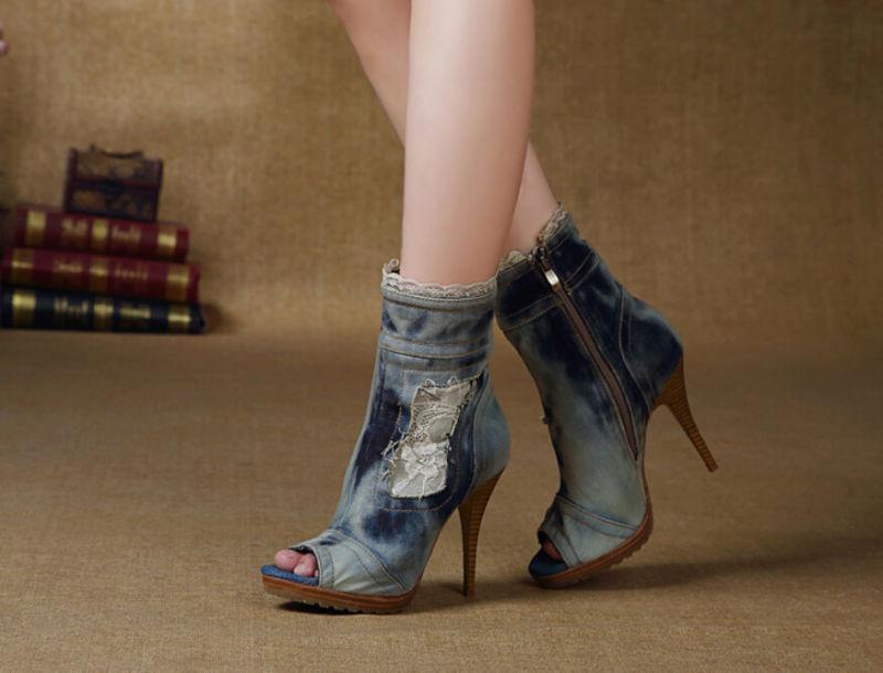 Women's Open Toe Demin Lace High Heels Long Sandal Cowboy Boots Punk shoes R207