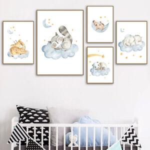 Cute Baby Animal Canvas Poster Nursery