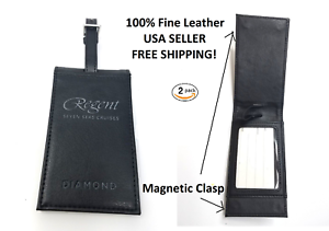 2-PACK-NEW-HIGH-END-BLACK-amp-SILVER-MAGNETIC-LEATHER-BUSINESS-CARD-LUGGAGE-TAG