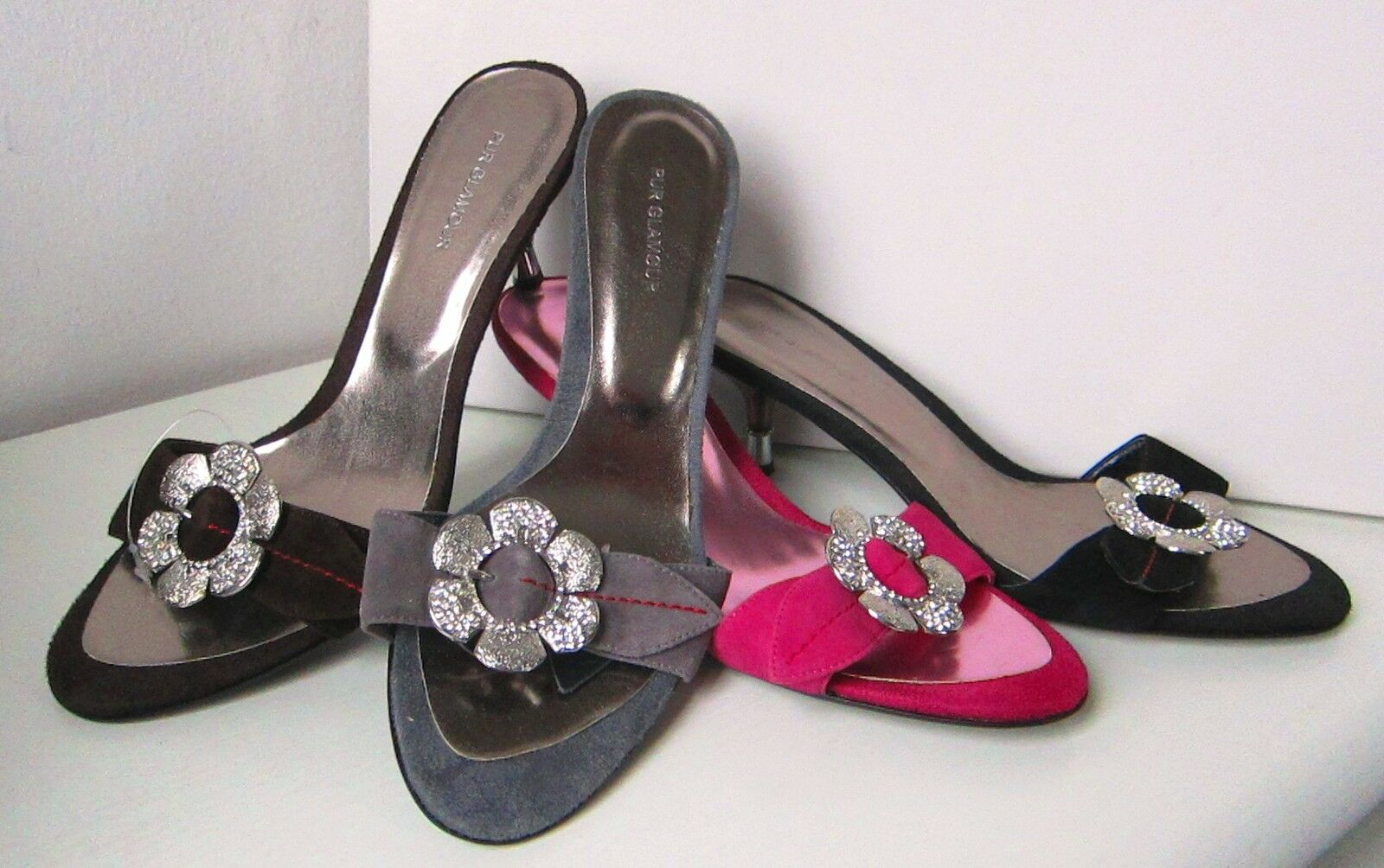 Unikat PUR GLAMOUR Mule Gr. Pumps grau hellgrau  Gr. Mule 37 Sandals shoes grey Wildleder 485aab