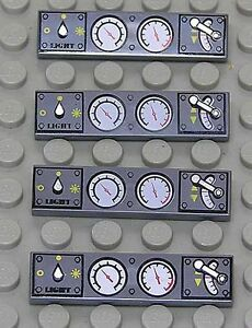 LEGO-4-x-Fliese-1x4-dunkelgrau-bedruckt-mit-Instrumenten-2431px17-NEUWARE
