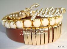 GUESS ??? Jeans Logo  Bangle  Bracelet  Gold Tone Charms Trio  3ps set    NWT